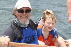 Captain Ron and our youngest, who decided to use his head as bait.