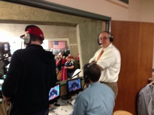 """""""Retired"""" Coach being a commentator at the State Swim Meet."""